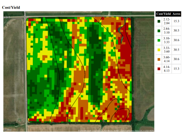 cost per yield map